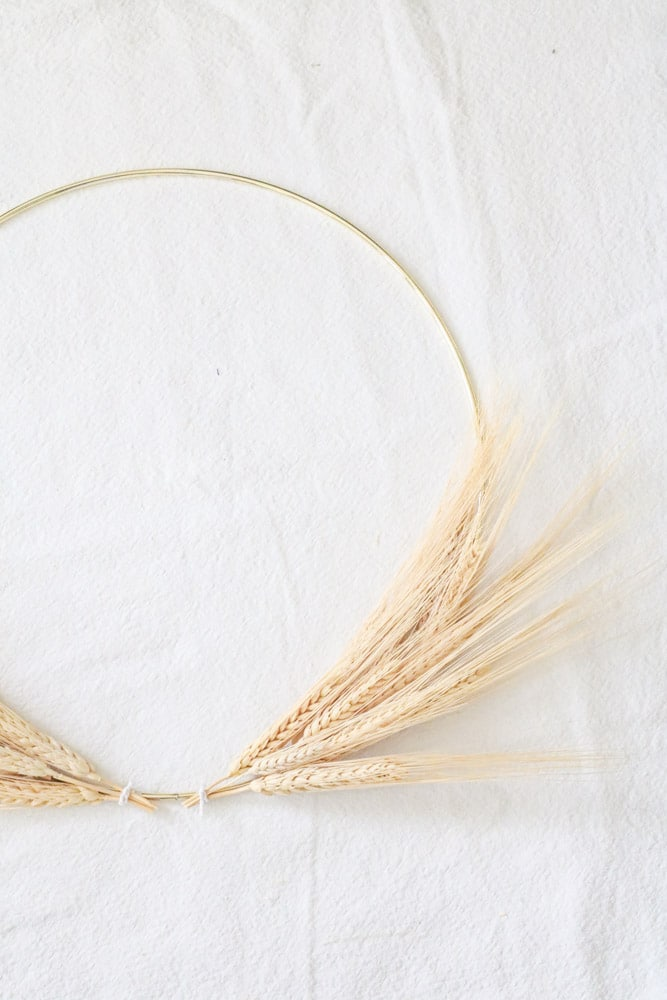 Minimalist dried wheat wreath ready for a ribbon