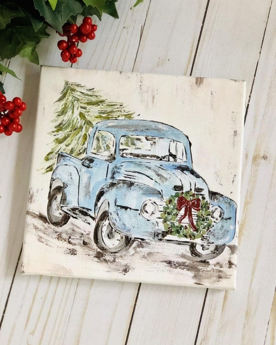Blue vintage Christmas truck art by Haley B Design