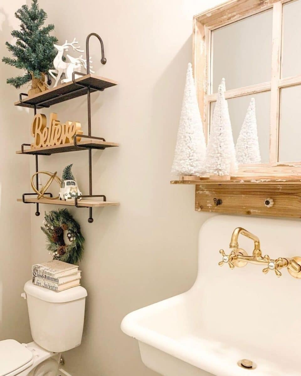 purposedrivenlivinghome neutral Christmas bathroom decorated with a farmhouse truck