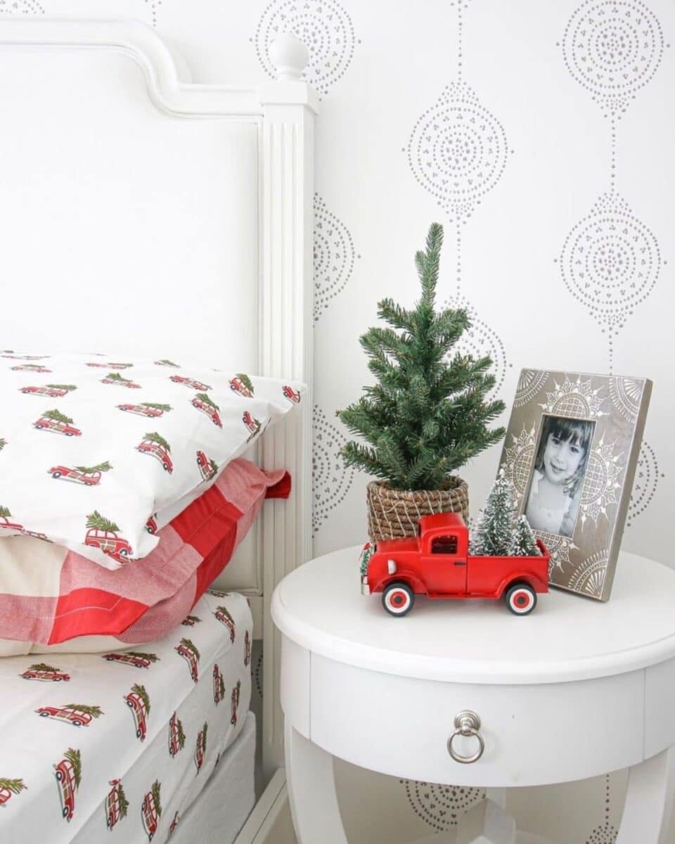 stefanasilber holiday nightstand with red Christmas truck