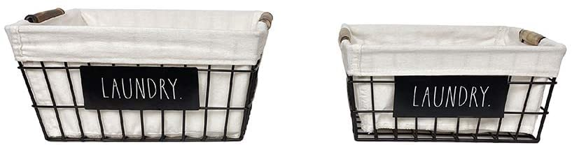Rae Dunn laundry storage wire baskets