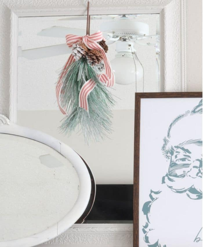 Indoor wreaths home decorating with a wreath on a mirror on a mantle