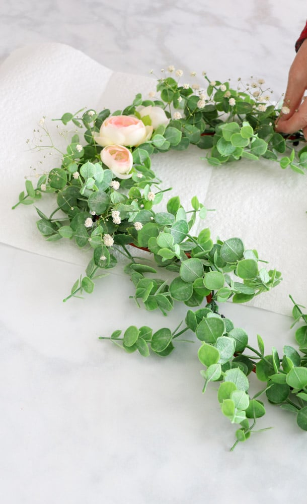 DIY Dollar Tree heart shaped floral wreath