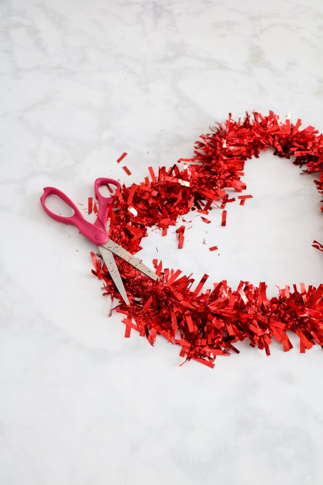 Cut foil from a Dollar Tree Valentine heart wreath