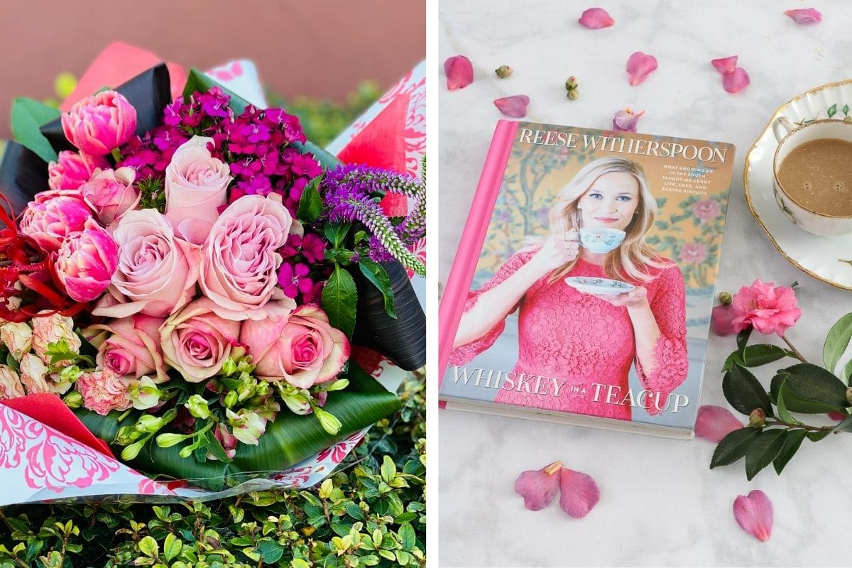 I love you gifts for her of a flower subscription and Reese Witherspoon Whiskey in a Tea Cup book.