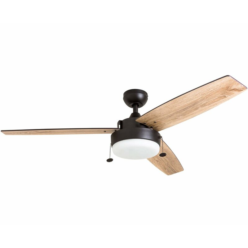 "Modern farmhouse ceiling fan with three blades, 52"" light wood blades, oil rubbed bronze body and light."