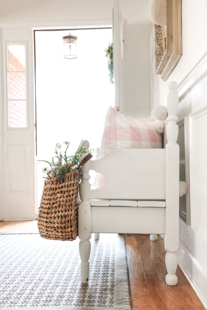 Entryway filled with Valentine basket and flowers