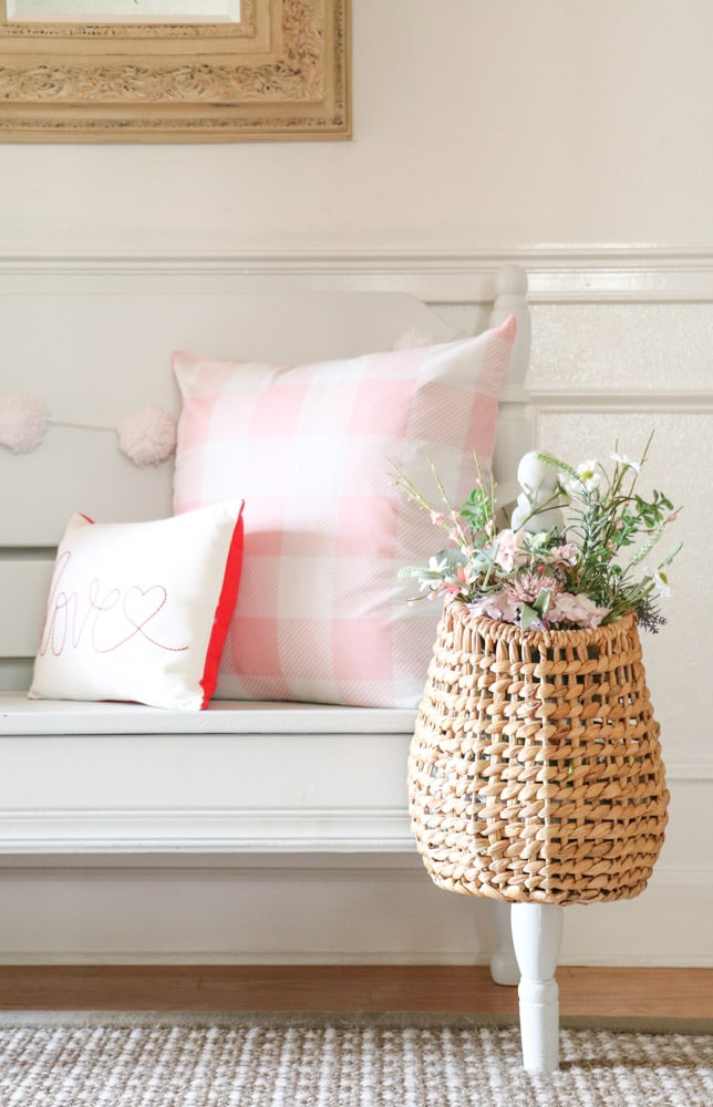 Simple farm style decorations for Valentine's Day with baskets and flowers