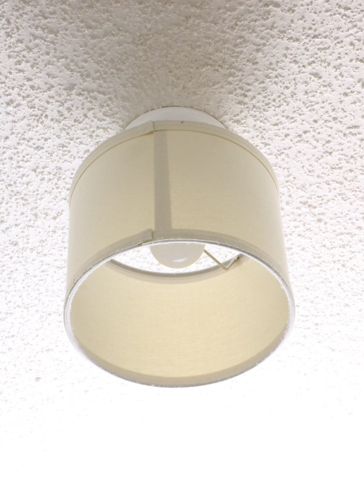 Ceiling light in closet with lamp shade