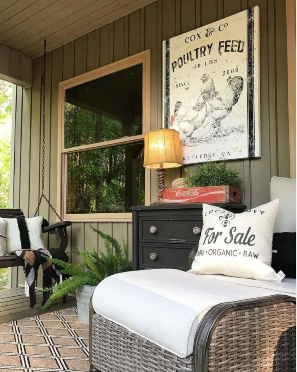 Rustic spring front porch decorating idea
