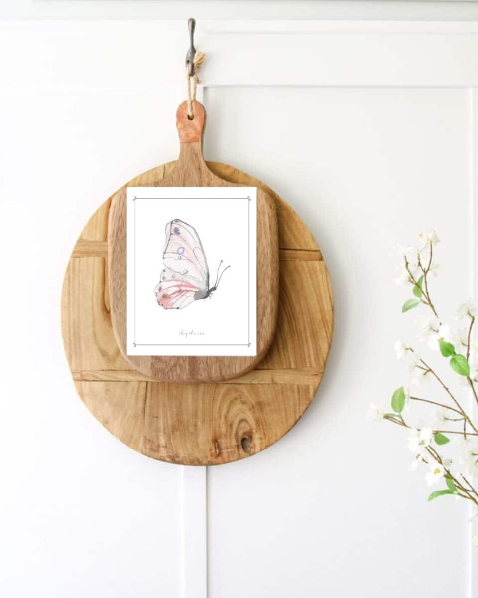 DIY printable idea using a download of a butterfly and taping it to a cutting and bread board