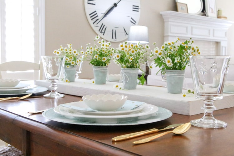 Easy DIY Dollar Store spring table scenery in a country style garden inspired design