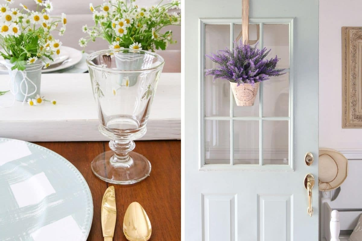 Mother's Day gift ideas, including front door wreaths and glassware
