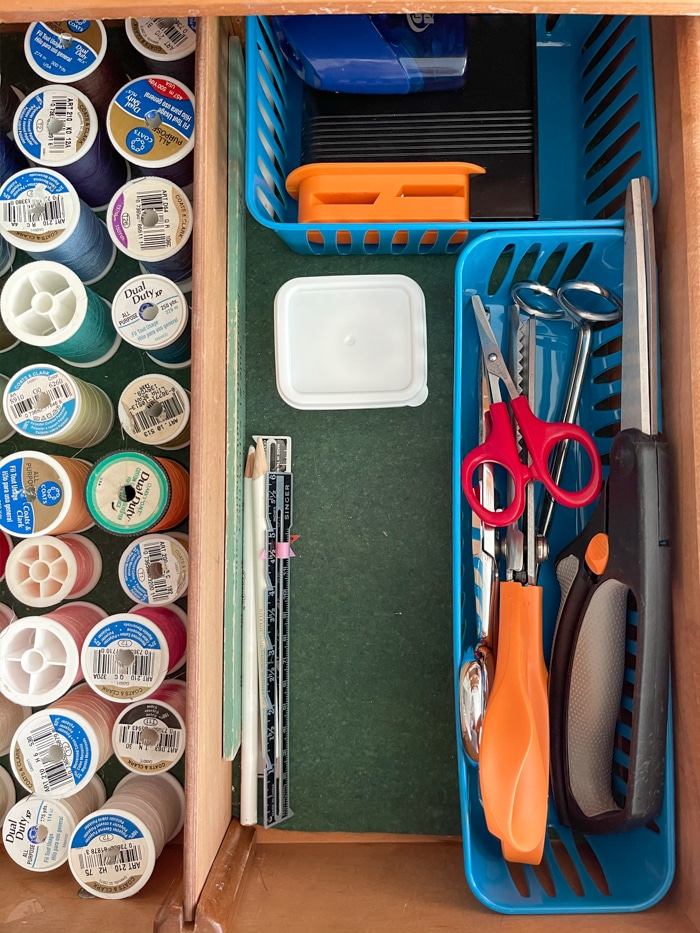 How to organize sewing supplies on a budget in a drawer