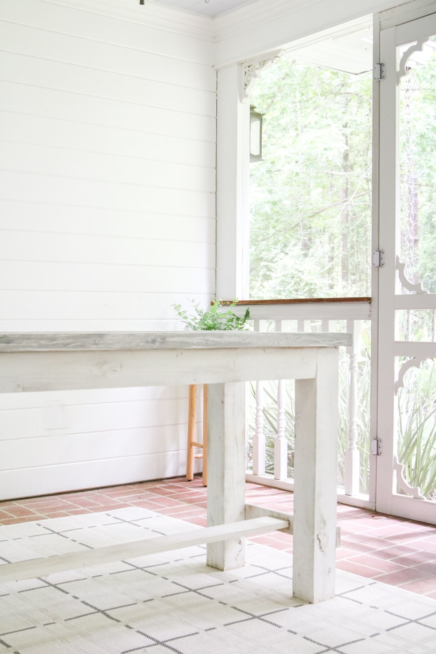 Farmhouse table on back porch for a patriotic party