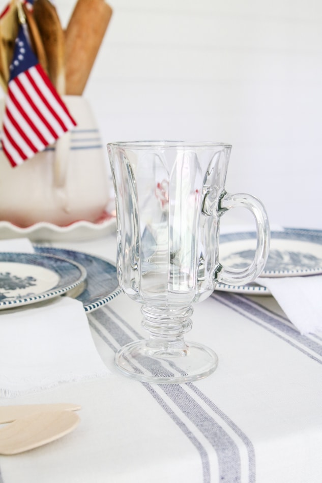 Independence day table setting with irish coffee mug glasses by Dollar Tree