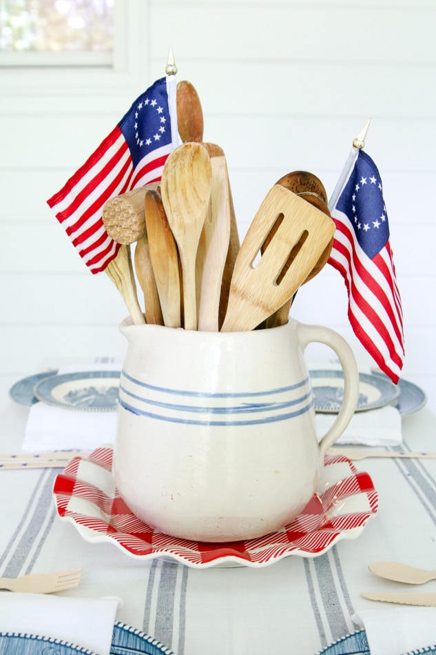 Patriotic centerpiece with Betsy Ross flags