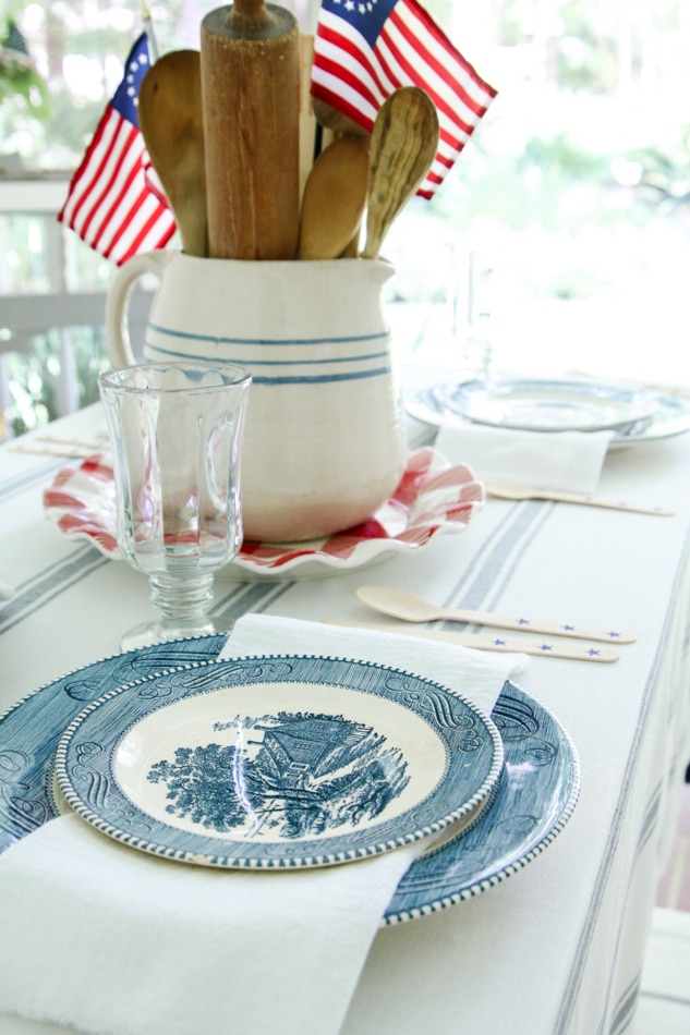 Patriotic tablescape with Currier and Ives