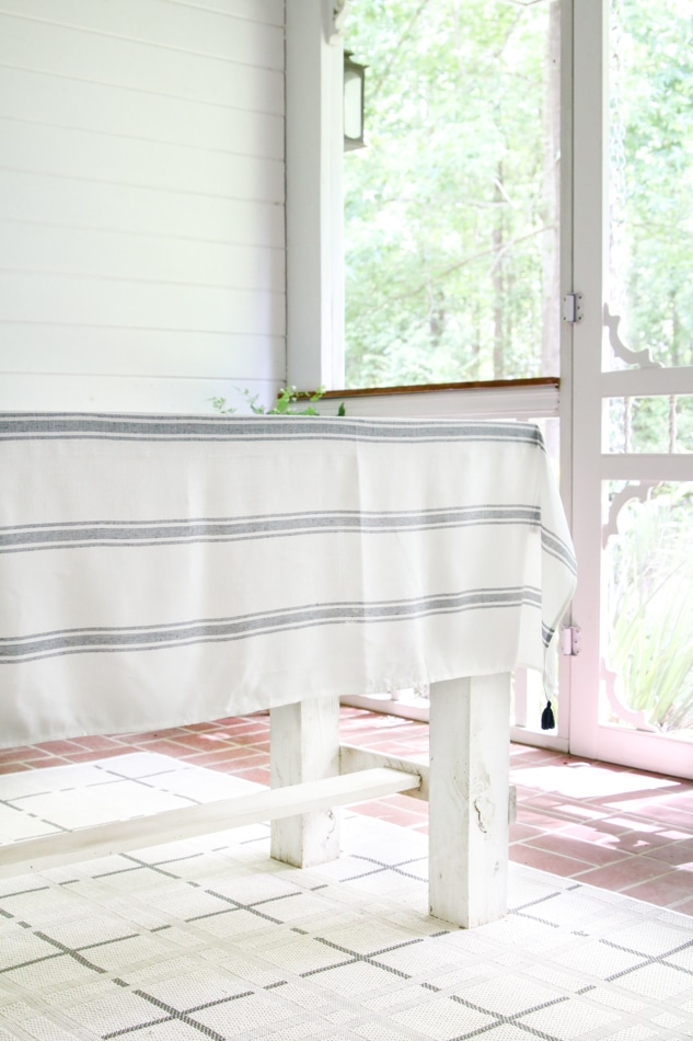 Blue and white stripe tablecloth for a patriotic tablescape