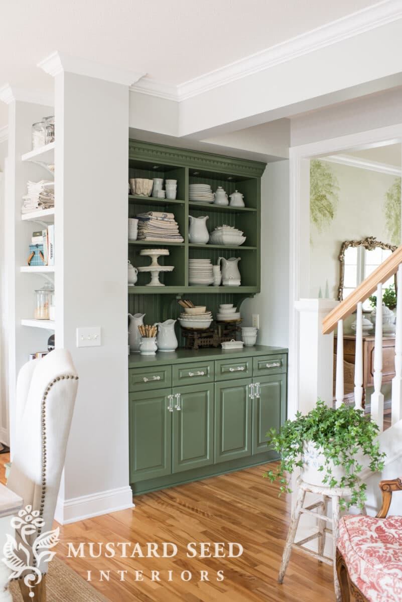 Popular green paint colors including Miss Mustard Seed boxwood green.