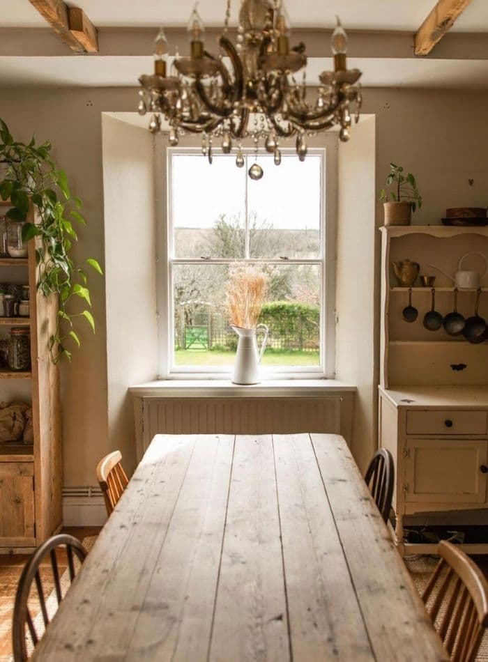 Farmcore rustic vintage furniture in a dining room