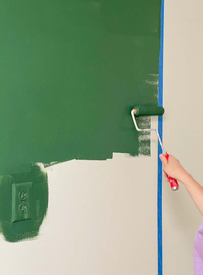 Green paint for background of mudroom storage