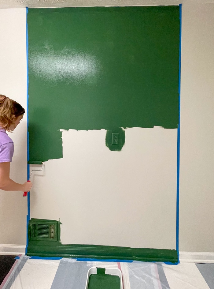 Green painted background for storage idea