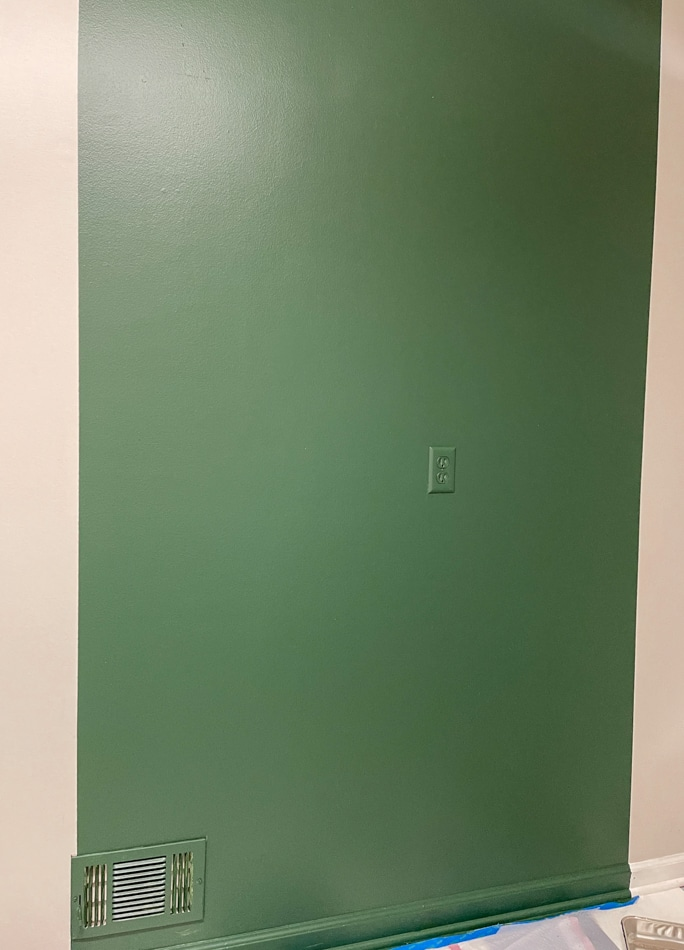 Painted background for mudroom storage unit