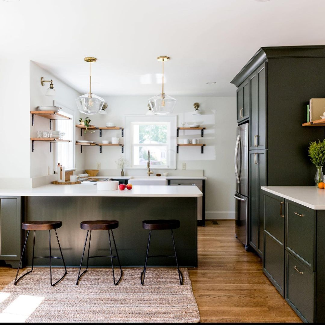 Best Sherwin Williams green paint color Ripe Olive on kitchen cabinets