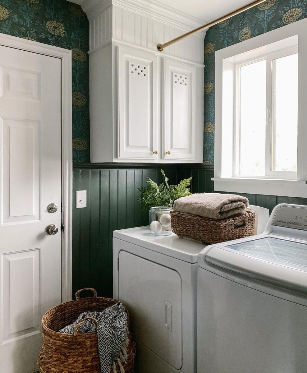 Popular SW dark green paint color Pewter Green in a laundry room