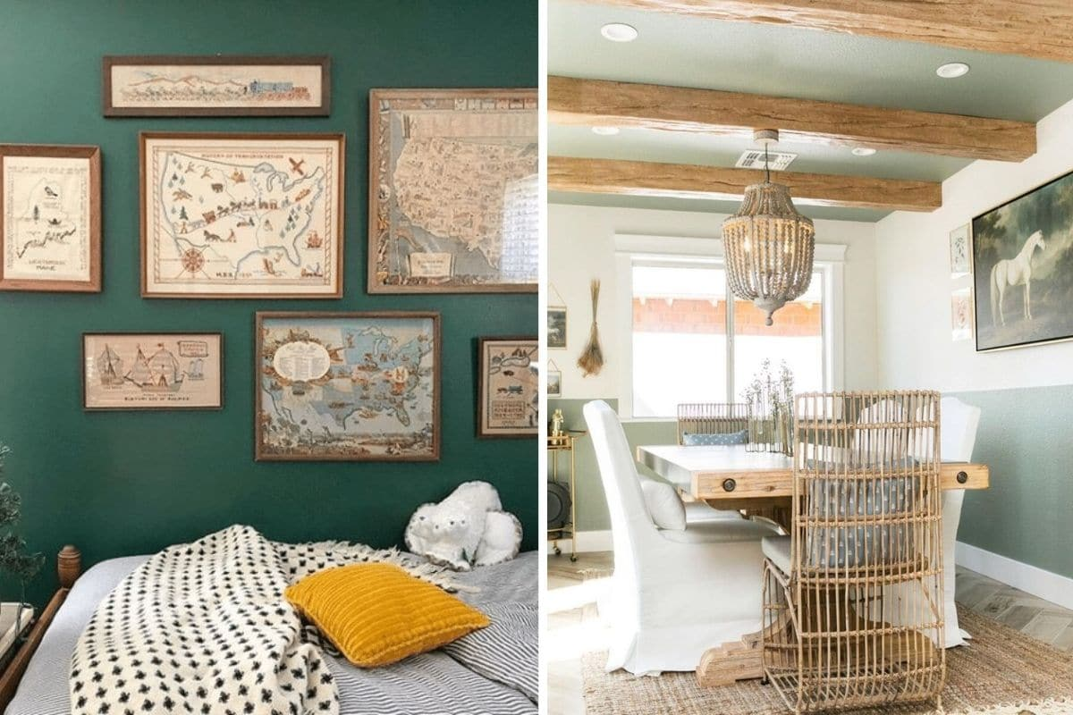 Most popular Sherwin Williams green paint colors.  Isle of Pines and Acacia green are two examples