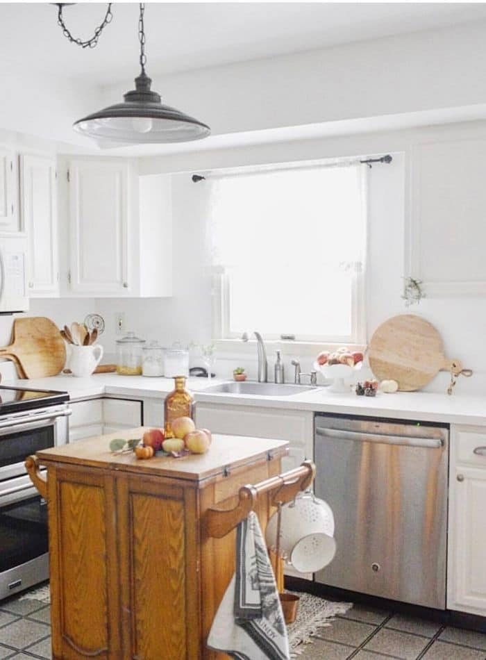 Popular white paint color on kitchen cabinets