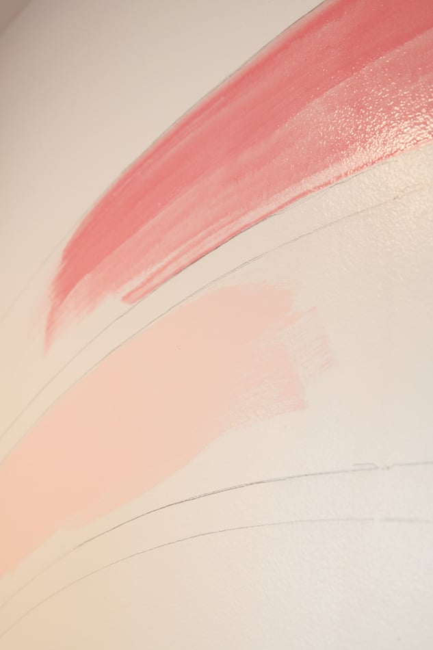 How to draw a watercolor rainbow on a wall