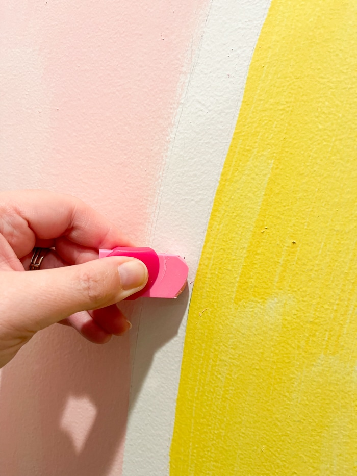 Erasing lines from a rainbow mural