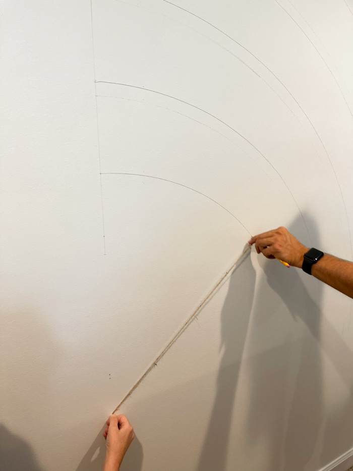 Painting a rainbow on a wall