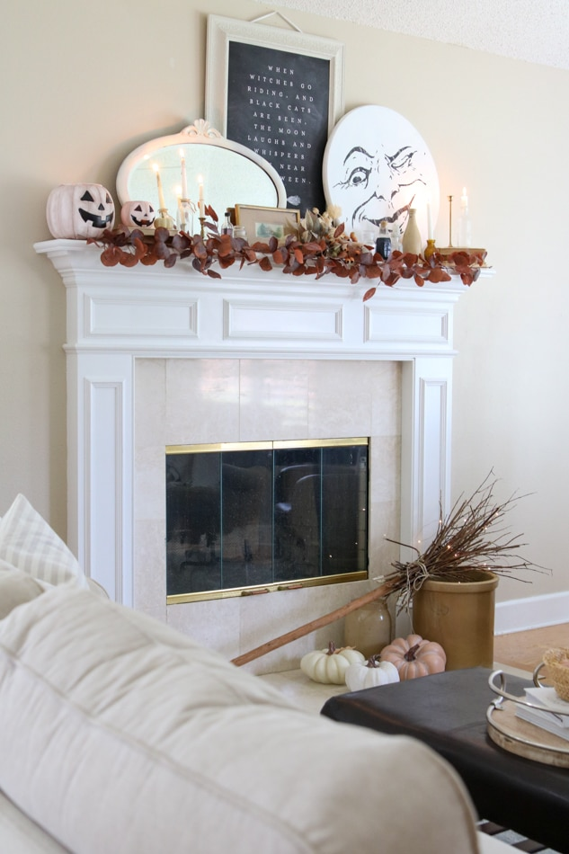 Vintage Halloween mantle in witchcore style