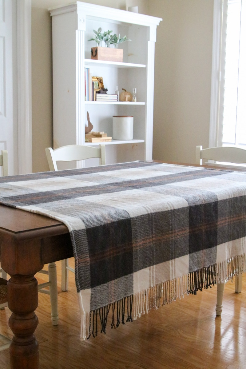 Thanksgiving tablescape with plaid blanket