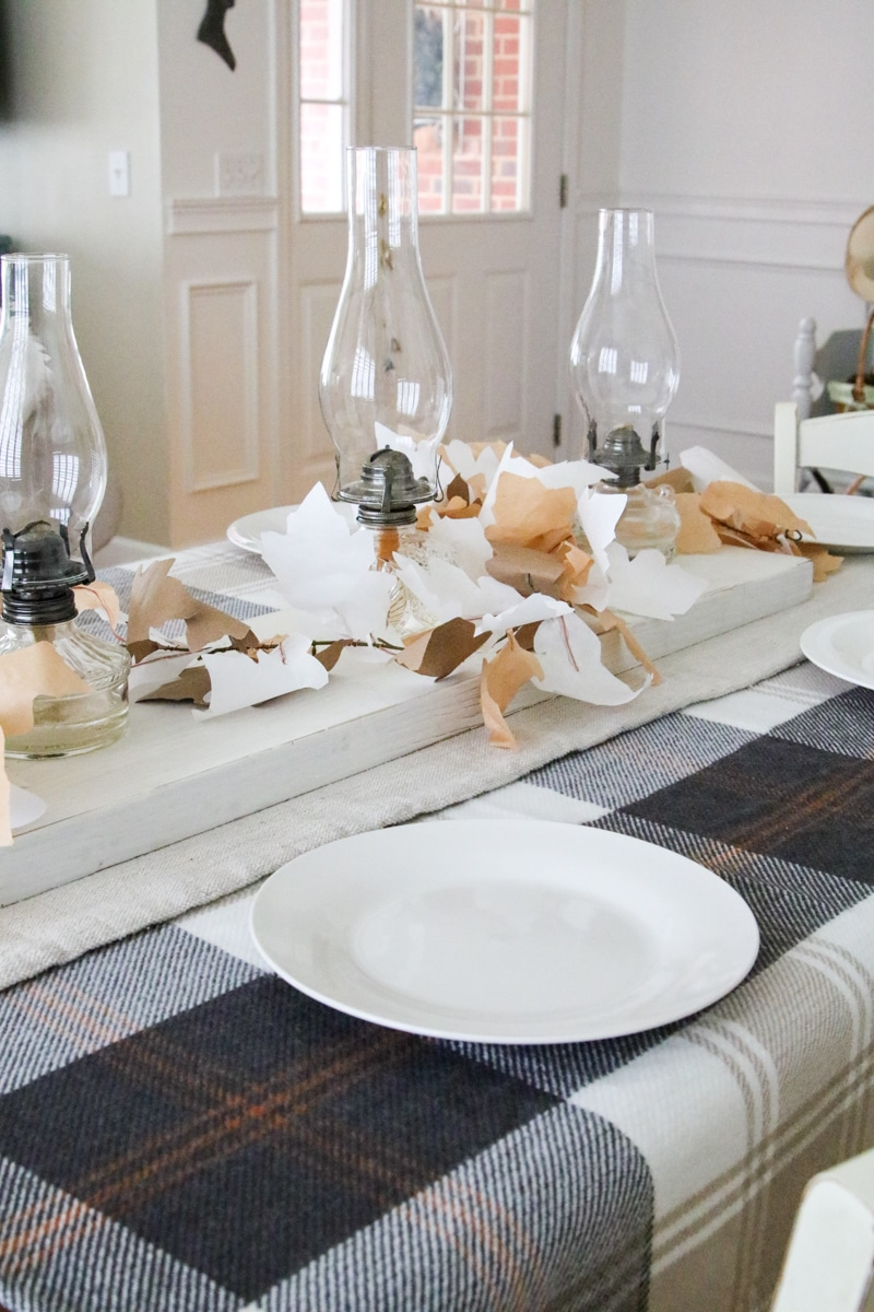 Autumn colored Thanksgiving tablescape