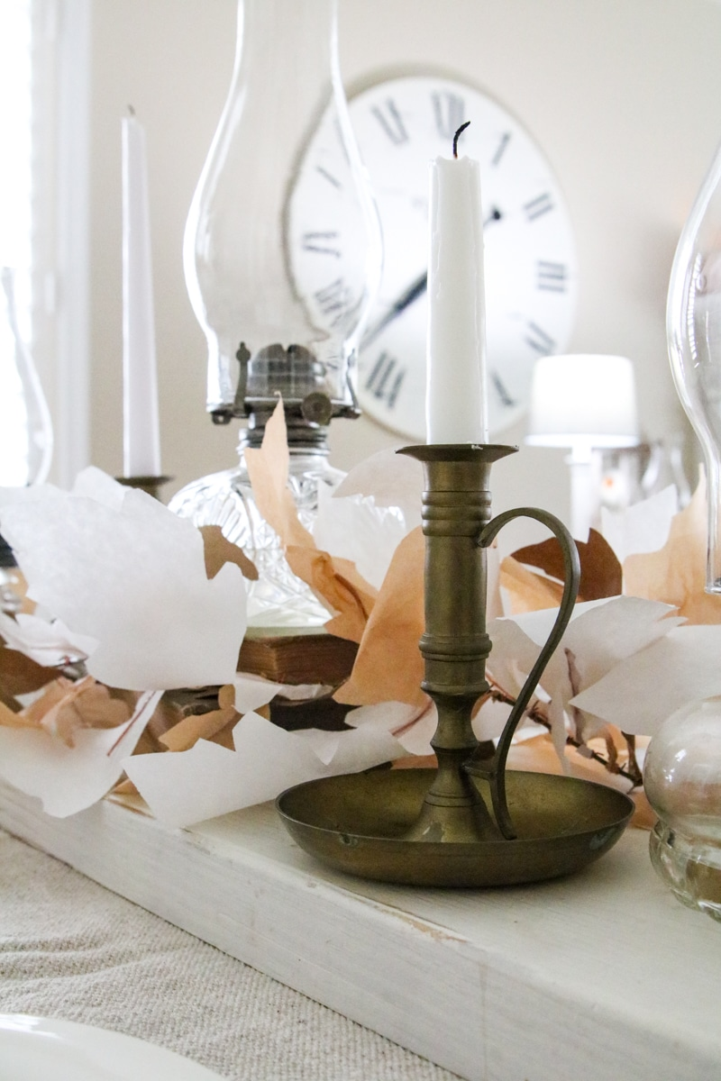 Thanksgiving tablescape with brass candlesticks