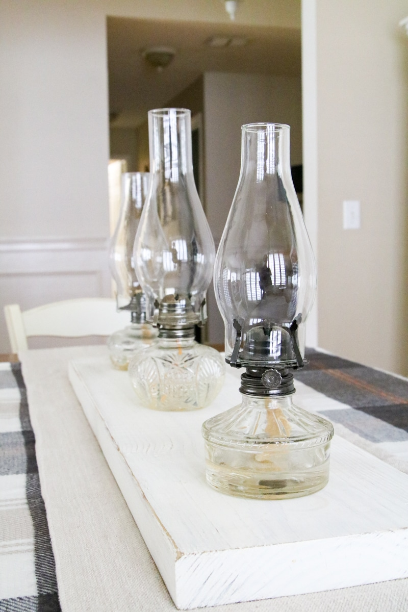 Chamber lamps for a autumn tablescape centerpiece